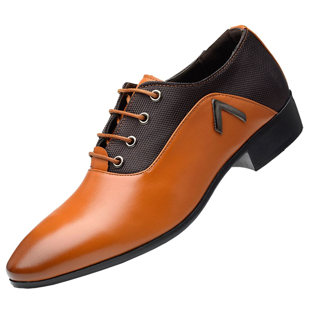 Mens Plain Pointed Toe PU Leather Dress Derby Shoes Mesh Lace-up Oxford Casual Shoes(10.5, Orange)
