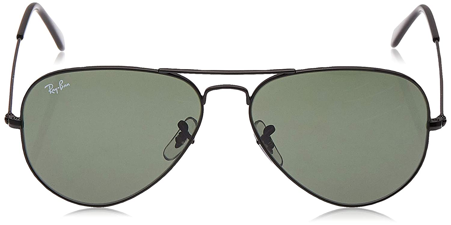 RAY-BAN RB3025 Aviator Large Metal Sunglasses, Black/Green, 58 mm