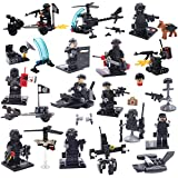 Army Minifigures SWAT Team With Military Weapons Accessories, Policeman Soldier Minifigures Toys Building Blocks 100% Compatible