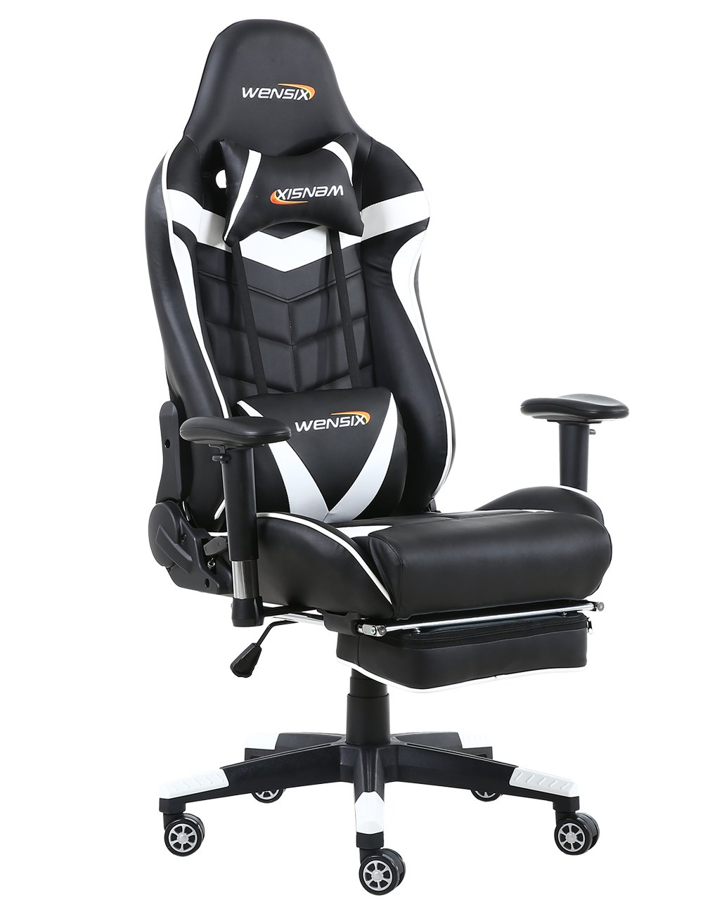 WENSIX Gaming Chair High Back Computer Chair With Adjusting Footrest, Ergonomic designs Extremely Durable PU Leather Steel Frame Racing Chair (White-04)