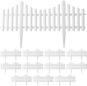 Finderomend 12PCS White Plastic Fence Garden Picket Fence Lawn Flowerbeds Plant Borders Decorative Garden