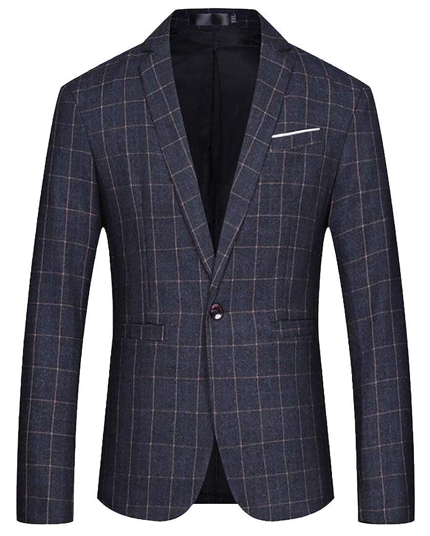 Amazon.com: Los hombres elegantes regular fit un boton plaid ...