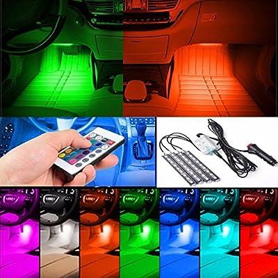 4Pack 9LED Remote Control Colorful RGB Car Interior Floor Decorative Light Strip