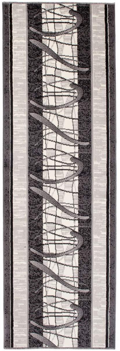 Tapiso Dream Läufer Teppich Flur Brücke Modern Streifen Linien Abstrakt Muster in Grau Creme Designer Korridor Wohnzimmer ÖKOTEX 120 x 600 cm
