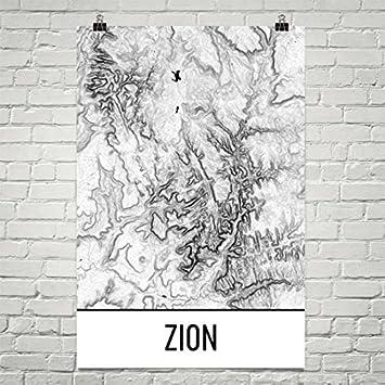 Amazon.com: Modern Map Art Zion National Park Print, Zion ...