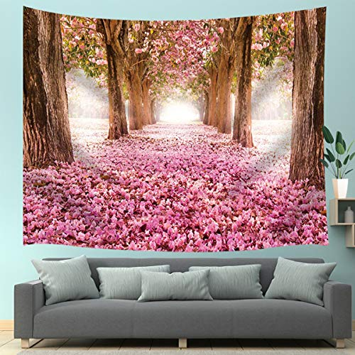 JAWO Pink Sakura Flower Tapestry Wall Hanging, Floral Cherry Blossom Tree in Spring Tapestries for Dorm Living Room Bedroom, Wall Blanket Beach Towels Home Decor 71X60 ()