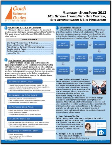Microsoft SharePoint 2013 Quick Reference Guide: Using SharePoint to Create & Manage Sites (201)