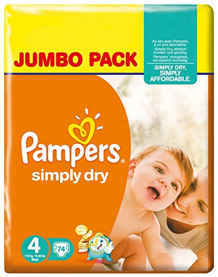 Pampers - Simply dry midi 7-18kg, pack de 2 (2 x 74