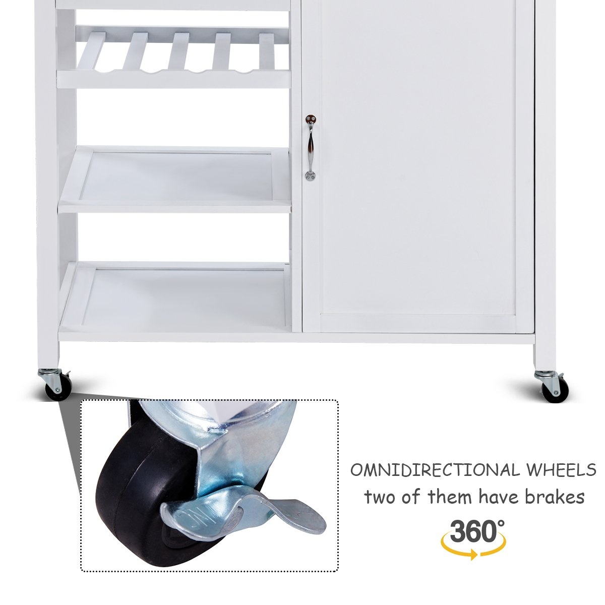 Giantex Kitchen Trolley Cart w/Wheels Rolling Storage Cabinet Wooden Table Multi-Function Island Cart Kitchen Truck (White) by Giantex (Image #5)