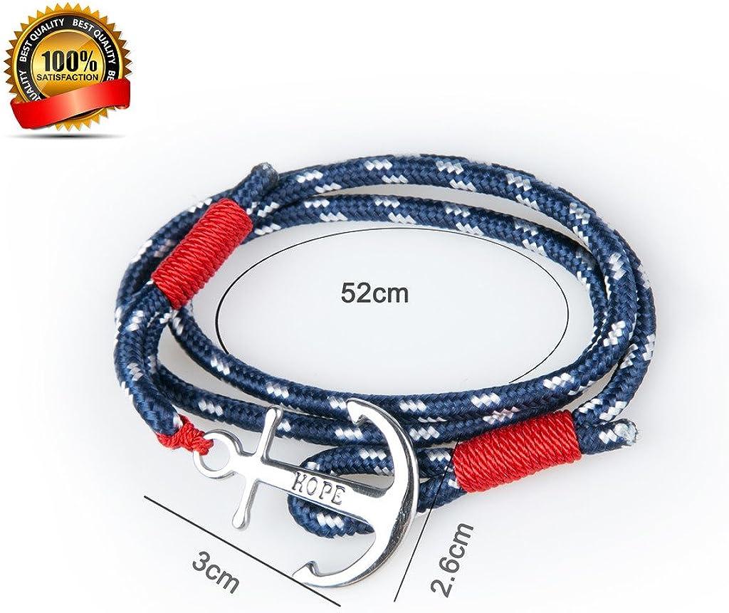 SUXNOS Bracelet Ancre Homme Femme Couple Marine Esp/érer Amour Cha/înes Bleu Nautique Cordon Braided Wrap Acier Hope Wristband