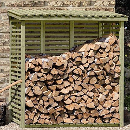 Kaminholzregal mit Rückwand für ca. 2 m³ Holz von Gartenpirat®