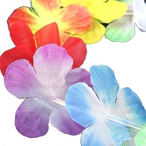 S//O 50er Pack Blumenketten Multicolor Bunt Blumenkette Hawaiikette Hawaiiketten