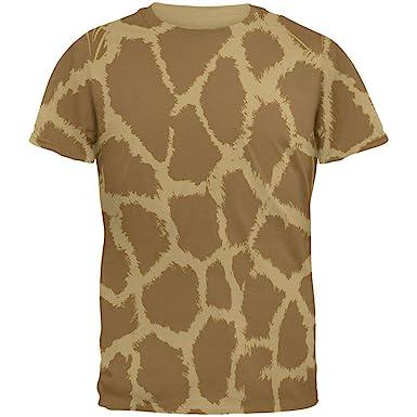 Giraffe Pattern Mens T Shirt Tan SM