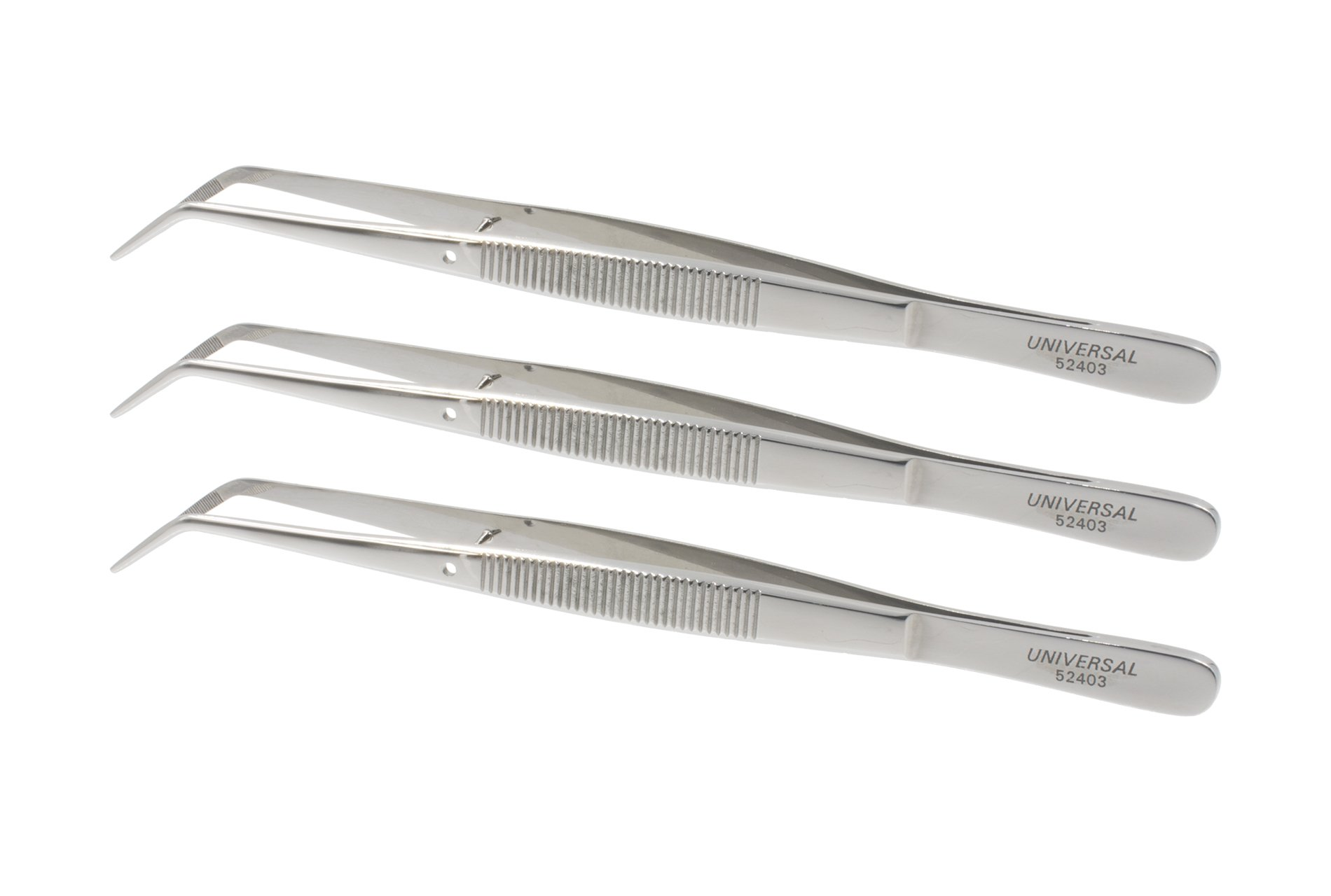 Universal 52403 Stainless Steel Heavy Pattern Precision Grade Curved Tip Tweezers / Forceps with Serrated Tip and Furrowed Handle