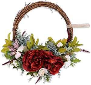 Anna Homey Decor 16'' Peony Flower Wreath Handmade Red Green Floral Wreath Half Round Shape Artificial Spring Garland Wreath for Front Door Wall Wedding Party Home Decor