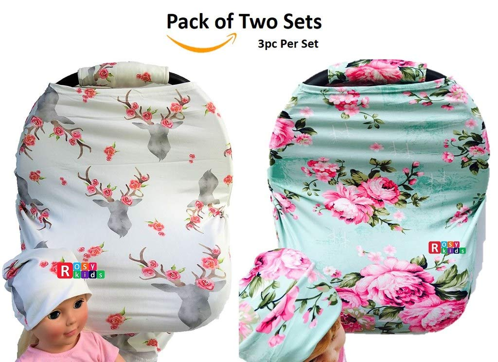 Rosy Kids Stretchy Infant Car Seat Canopy Cover, Jersey Elastic Nursing Scarf Privacy Cover with Matching Car Seat Handle Cover and Baby Hat, Pack of 2, Color28AT04 by Rosy Kids