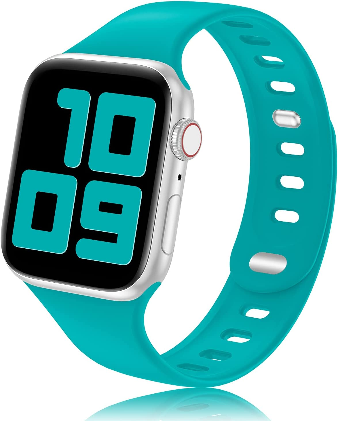 YAXIN Sport Band Compatible with Apple Watch Bands 38mm 40mm 44mm 42mm Women Men, Soft Silicone 2-clasp iWatch Bands Replacement Strap Compatible for iWatch SE Series 6/5/4/3/2/1, Teal