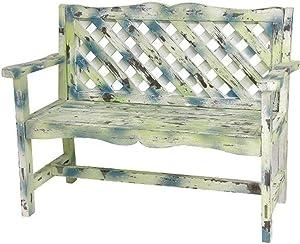 ORIENTAL Furniture Distressed Lattice Garden Bench