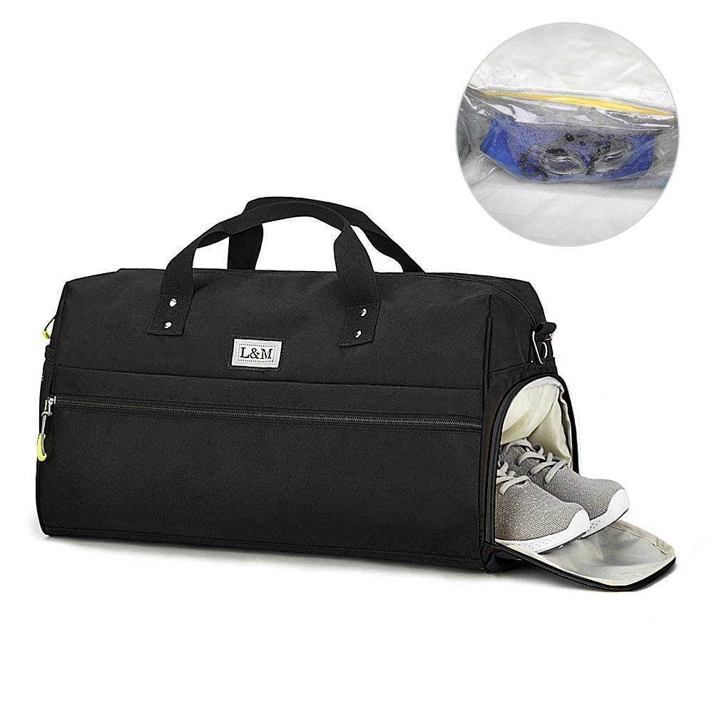 GARDOM Sports Gym Bag, Swim Yoga Fitness Travel Duffel Bag with Separate Dry Wet Pouch Shoe Compartment for Men Women (Black)
