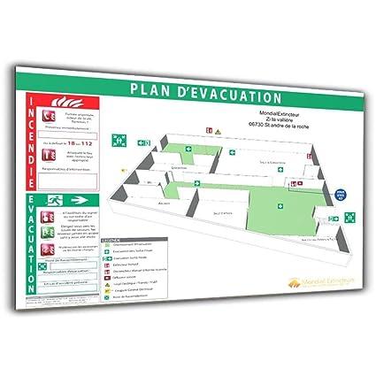 Plan de evacuación 3d sobre sándwich blanco - formato A3 ...
