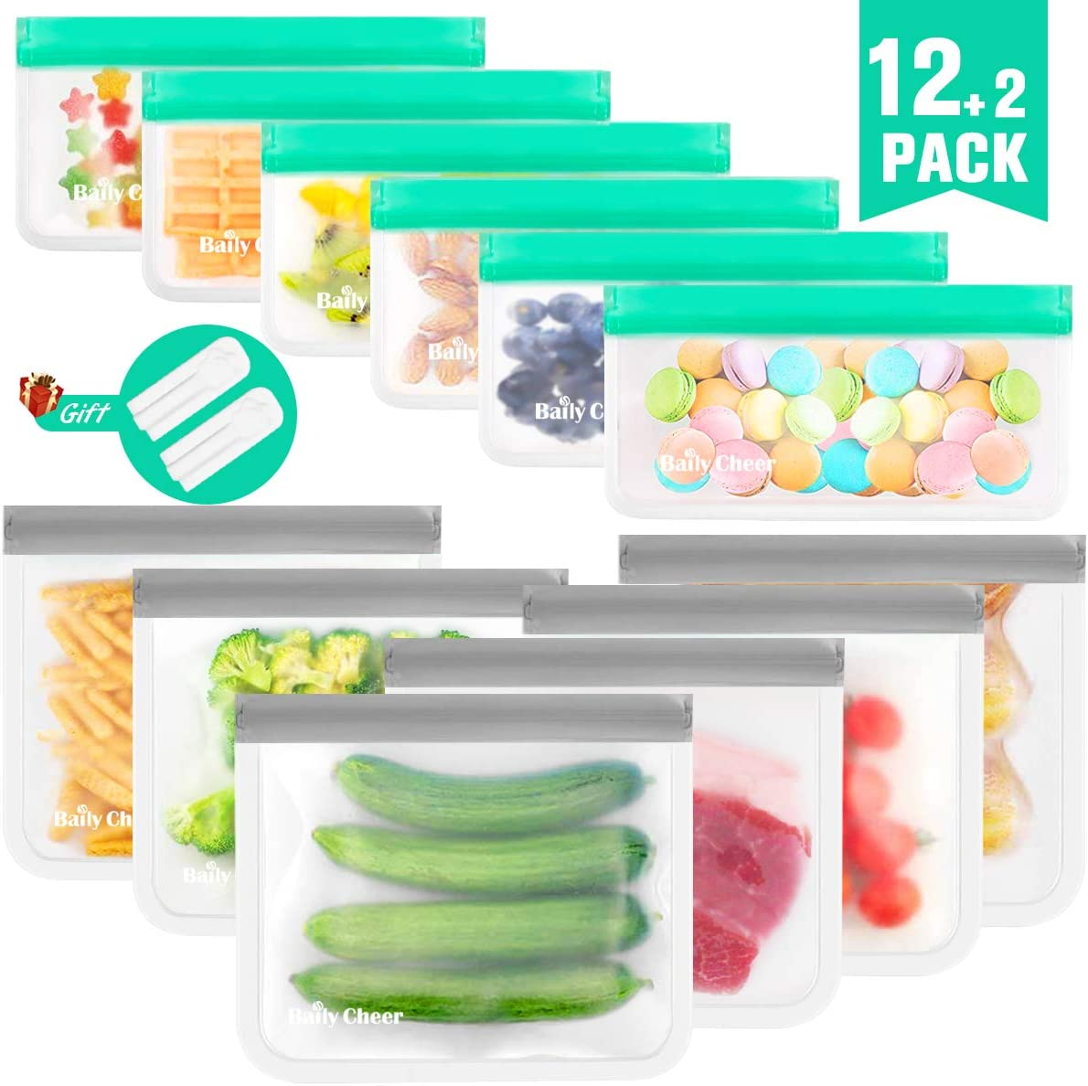 Reusable Storage Bags, 12 Pack Extra Thick Food Storage Bags (6 Reusable Sandwich Bags & 6 Reusable Snack Bags) BPA-Free DUAL Leakproof Re-Zip Seal Storage Bag for Kids School Lunch,Picnic and Travel
