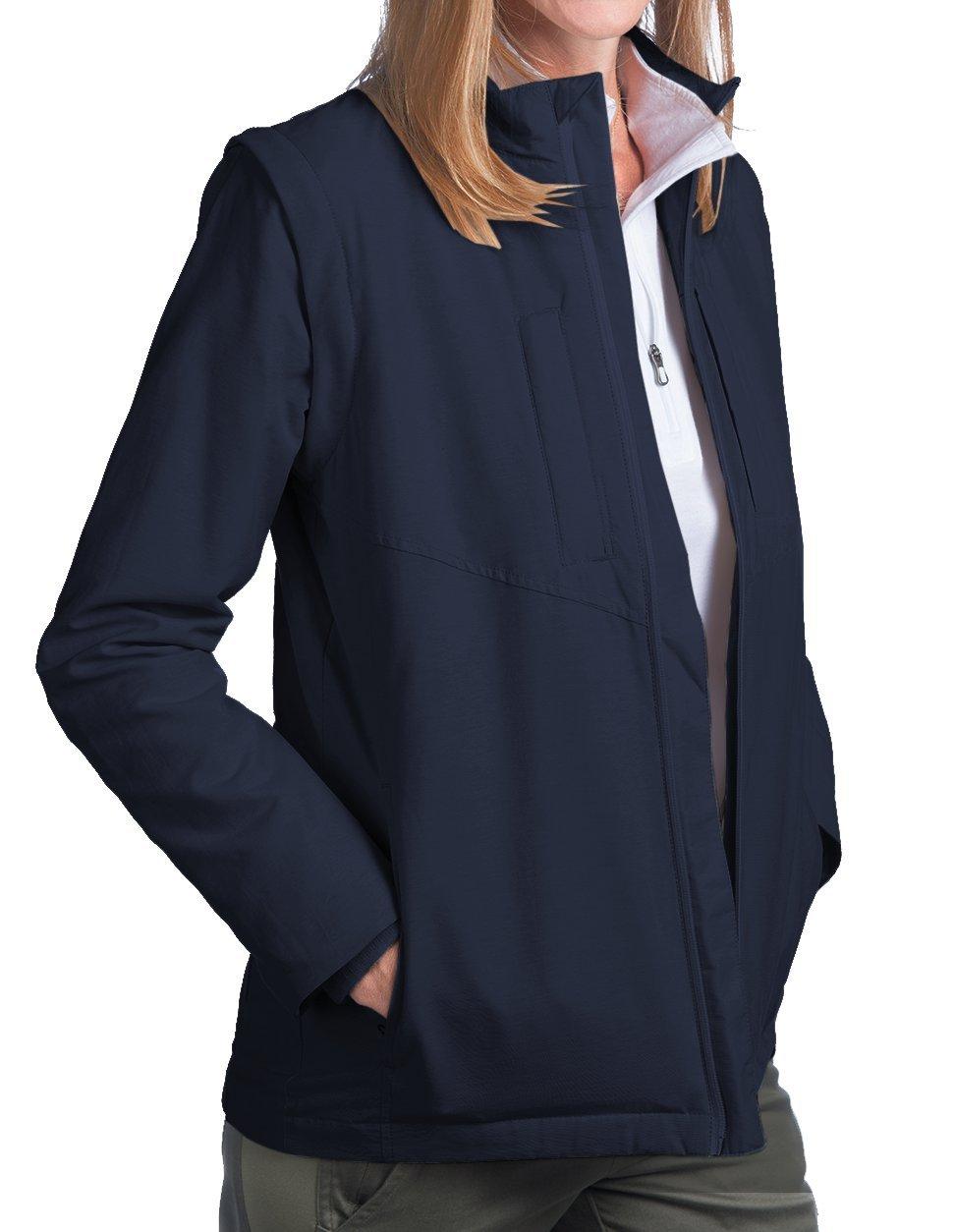SCOTTeVEST Women's Standard Jacket - 25 Pockets - Travel Clothing (Small, Navy)