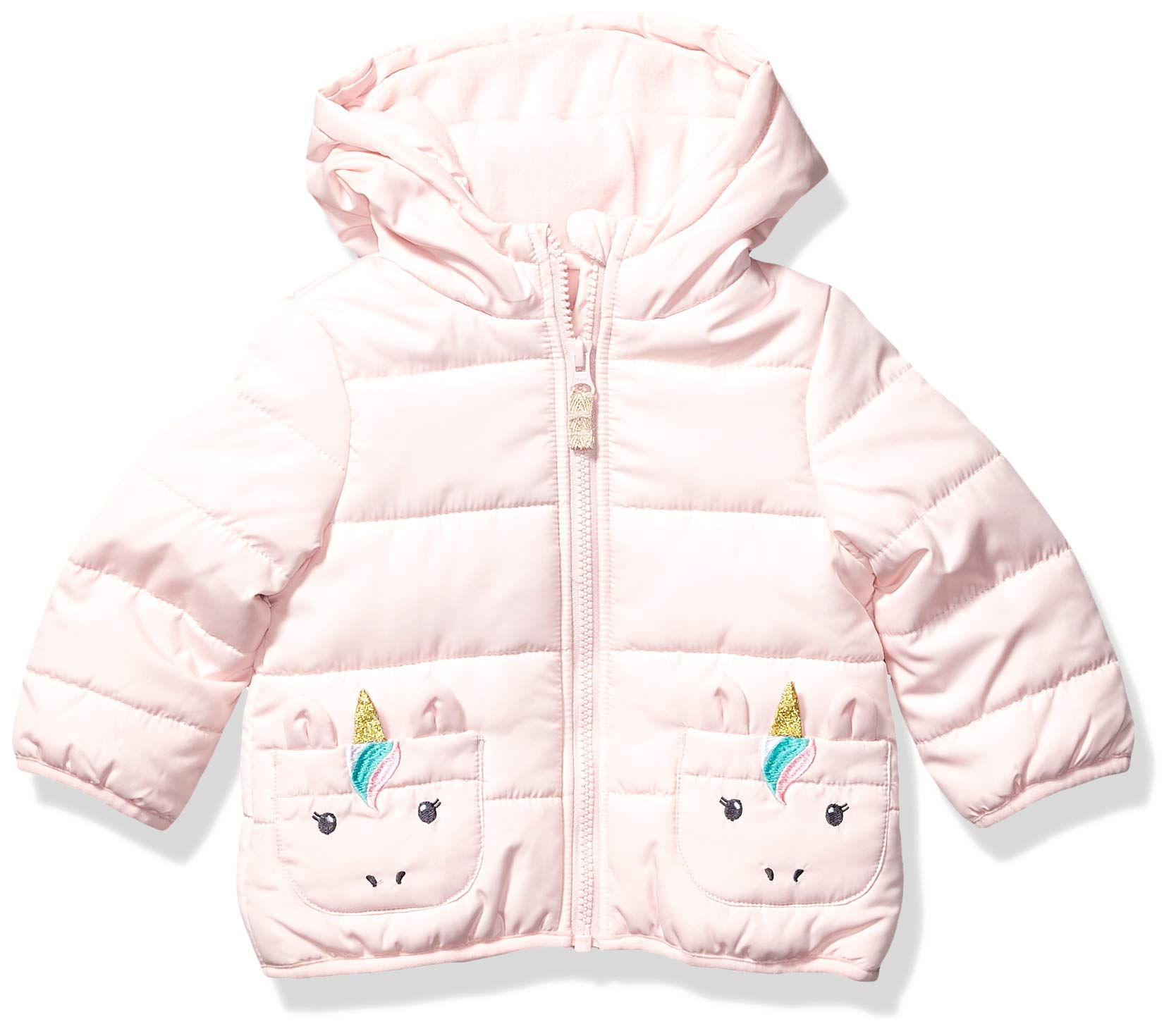 Carter's Baby Girls Fleece Lined Critter Puffer Jacket Coat, Pink Unicorn, 18 Months by Carter's