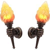 VOMI Rustykalna lampa ścienna LED, pochodnia, lampa ścienna na zewnątrz, lampa E27, efekt płomienia, klosz szklany…