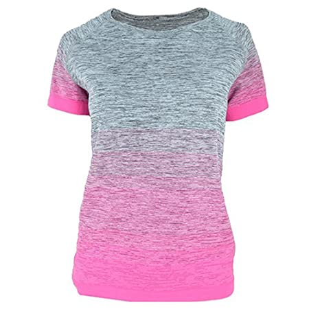 Hippolo Damen Damen Hohe Elastizität Atmungsaktiv Feuchtigkeitstransport  Rundhalsausschnitt Gradient Damen Yoga Kleidung Shirt Frauen Schnell  Trocknend e6dd54f08b