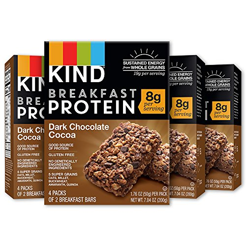 KIND Breakfast Bars,Dark Chocolate Coca Bars, 8g Protein, Gluten Free, 4 count (pack of 4) Breakfast Cocoa