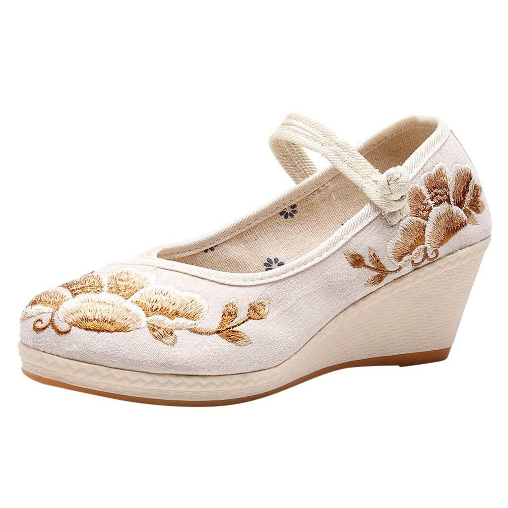 ZOMUSAR New! 2019 Women's Wedges Shallow Embroidered Shoes National Wind Single Shoes Dance Shoes Beige