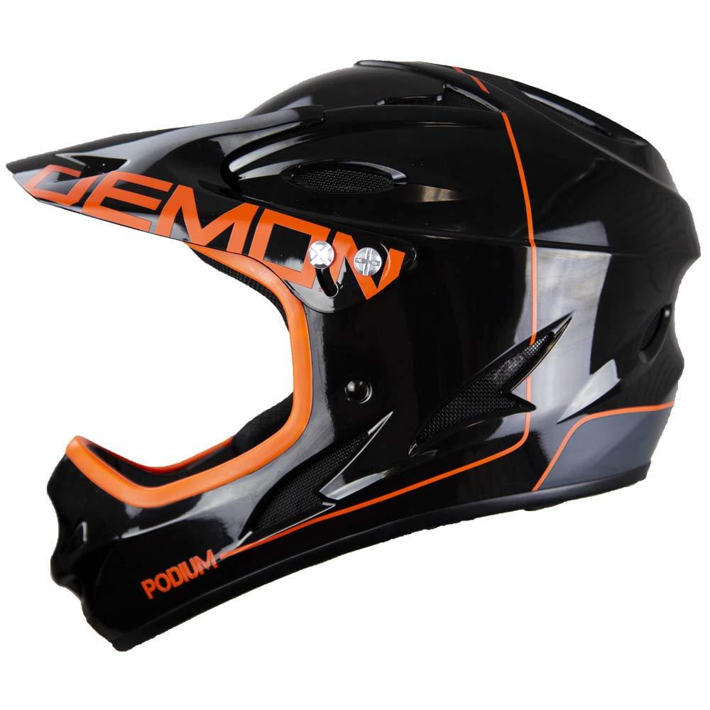 Demon Podium Full Face Mountain Bike Helmet- Gloss Black/Orange (Small)