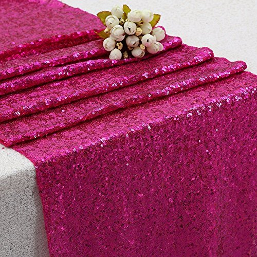 B-COOL Wholesale Fuchsia Table Runners Sequined Fabric Fashion glitter kictchen table linens-10 pieces ()