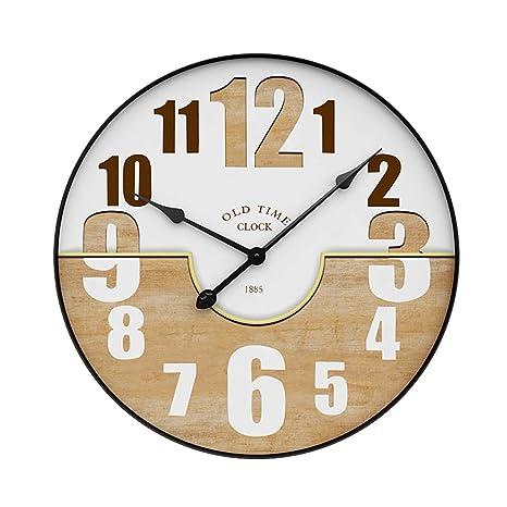 MRKE 50CM XXXL Metal Reloj Pared Grande 3D Silencioso Vintage Madera Retro Design Reloje de Pared