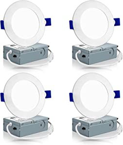 Meconard 4 Pack 4 Inch LED Recessed Ceiling Light with Junction Box, 3000K/4000K/5000K Selectable, 9W=75W 750LM, Dimmable Canless Downlights, ETL and Energy Star Listed
