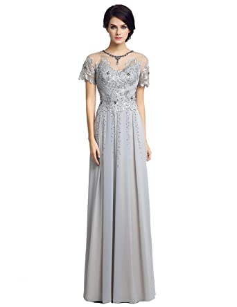 34531d83743 Belle House Women s Long Mother of The Brides Dresses with Beaded Short  Sleeve Evening Dress at Amazon Women s Clothing store