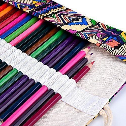 Sac a Crayon de Toile Crayons non Inclus DOITEM 72 Trous Pochette pour Crayons Trousse de Crayons de Couleurs Sac Multi-usages