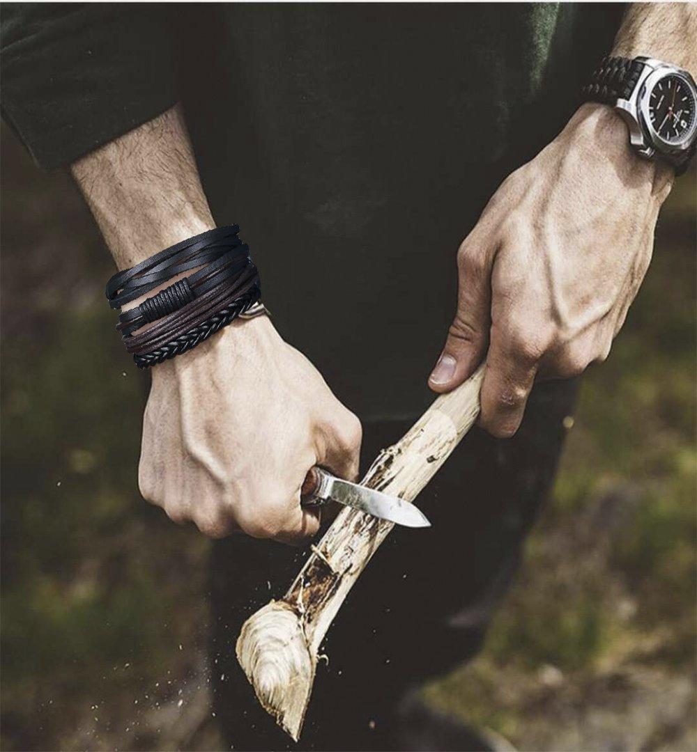 LOLIAS 24 Pcs Woven Leather Bracelet for Men Women Cool Leather Wrist Cuff Bracelets Adjustable by LOLIAS (Image #5)