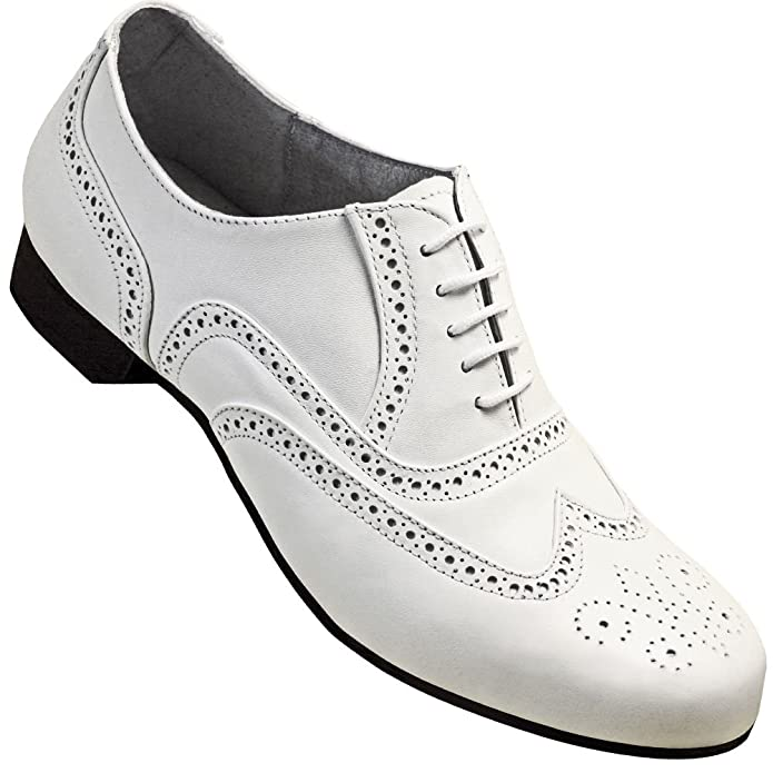 1920s Style Mens Shoes | Peaky Blinders Boots Mens 1930s White Spectator Wingtip Dance Shoe $79.95 AT vintagedancer.com