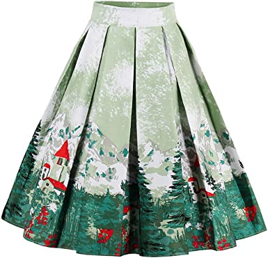 Women Floral Print High Waist Skater Flared Pleated Swing Maxi Skirt Dress Party