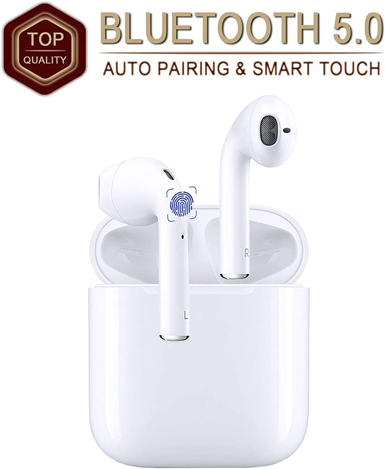 Wireless Earbuds Bluetooth 5.0 Headphones with【24Hrs Charging Case】 IPX5 Waterproof, 3D Stereo Headsets in-Ear Ear Buds Built-in Mic, Pop-ups Auto Pairing for Airpods/Android/iPhone/Samsung