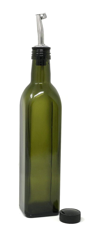 Olive Oil Dispenser with Stainless Steel Flip-Top Pourer Square Dark Green 500ml nicebottles