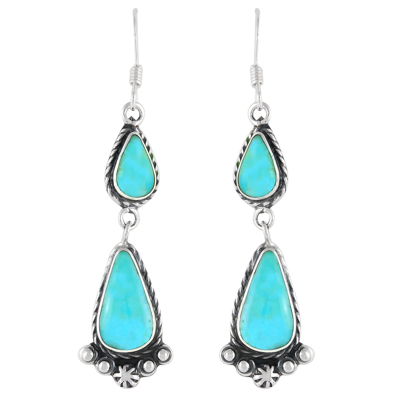 Turquoise Earrings 925 Sterling Silver & Genuine Turquoise (Select style) (Western Dangles)