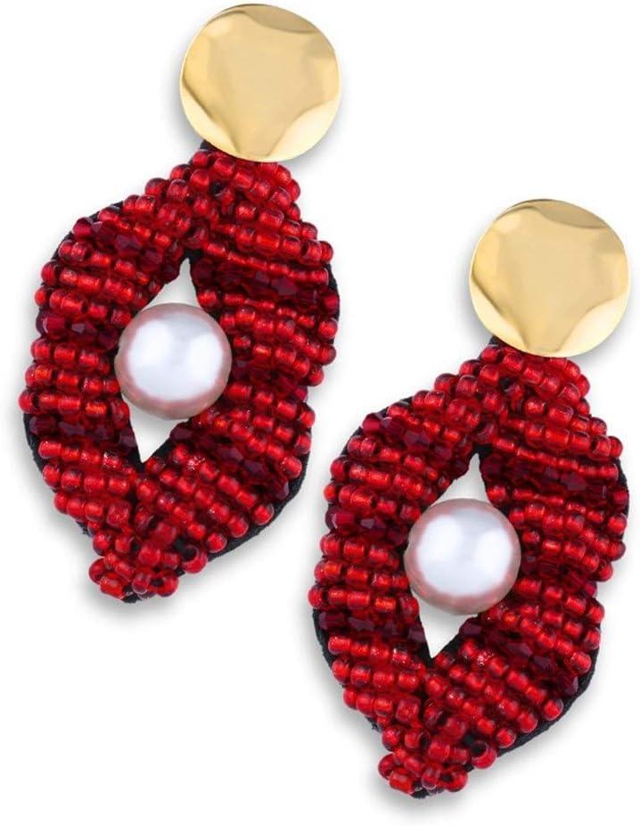 NOBRAND Pendientes de Perlas Creativas, Labios Rojos Pendientes de Mujer de Moda afortunada Compromiso (Color : Erp77 Red Lips)
