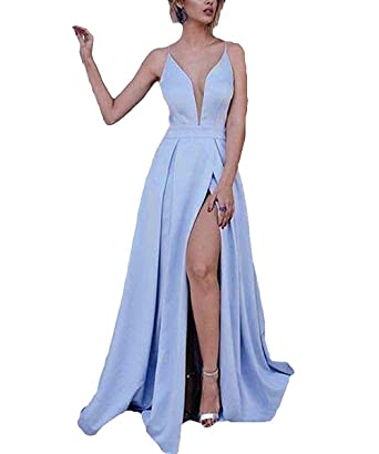 Ruisha Satin Deep V Neck Spaghetti Straps High Slit Formal Party Prom Dresses Long Evening Gowns