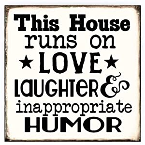 This House Runs on Love Vintage Funny House Sign for Home Decor,Decorative Wall Hanging Sign with Sayings for Living Room