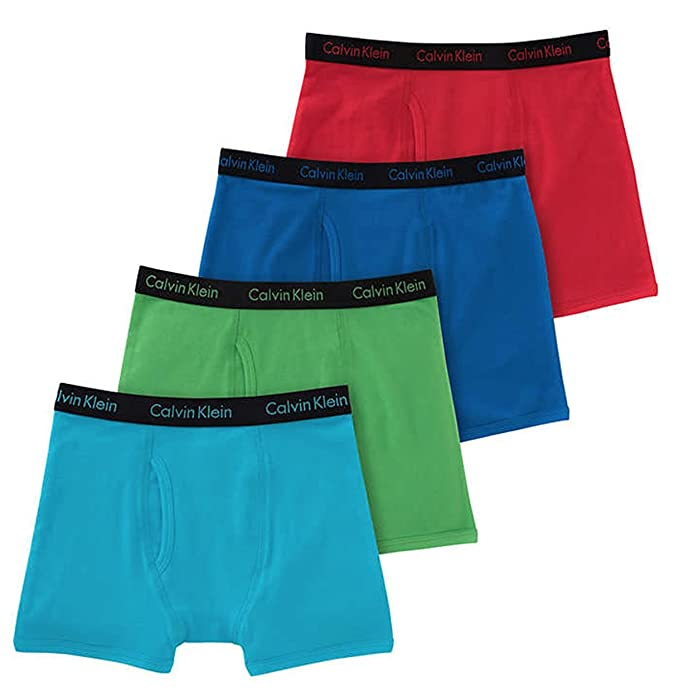 42798fc377be77 Calvin Klein Cotton Stretch Boys Boxer Briefs (4 Pack) (Small, Blue ...