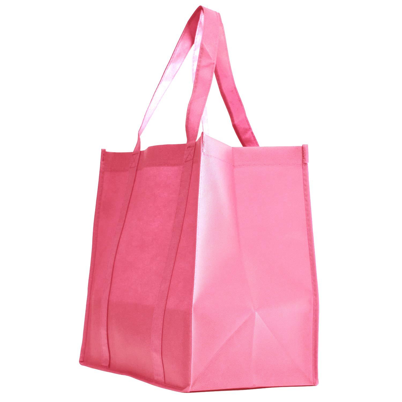 食料品トートバッグ 大型 超強力 高耐久 ショッピングバッグ 自立式 PLボトム 不織布 コンベンション 再利用可能 トートバッグ 高品質 B07K2HRZF7 ピンク Set of 10
