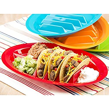 Set of 2 - ChefLand Fiesta Taco Plates / Taco Stand Up Holder *Assorted colors*