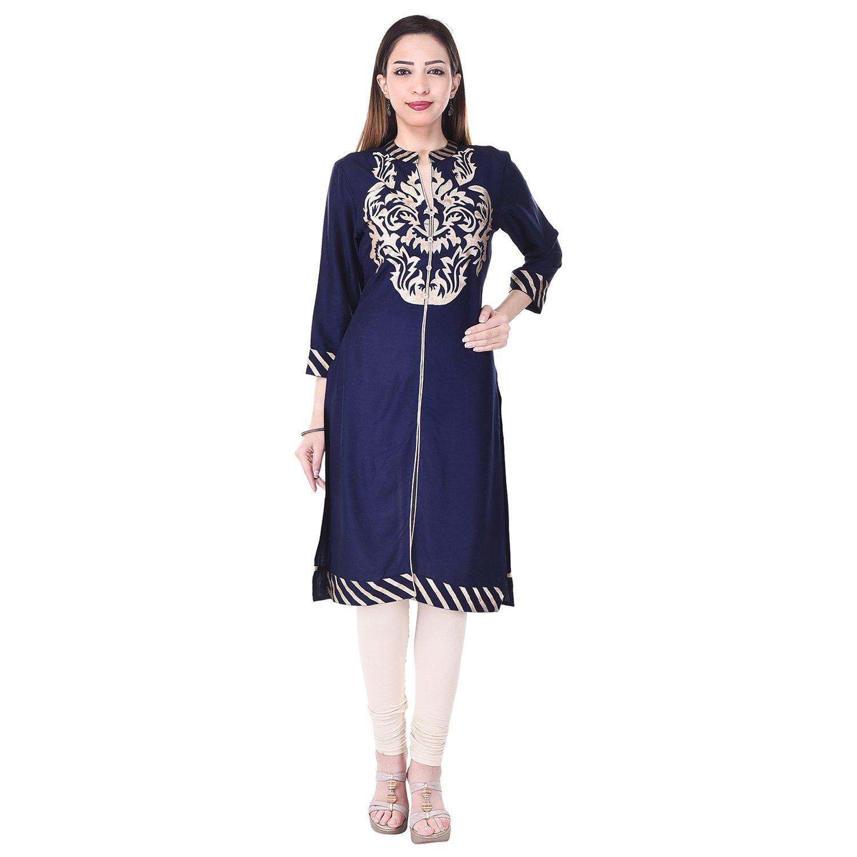 Bollywood Indian Designer Latest Designer Jaipuri 100% Cotton Kurti Kurta Party Wear (Large, Blue)